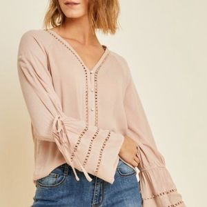 Hayden LA Nude Peasant Top Bell Sleeves Medium NWT